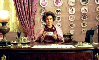 Umbridge in her office at Hogwarts