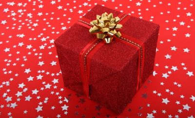 wrapped red christmas gift