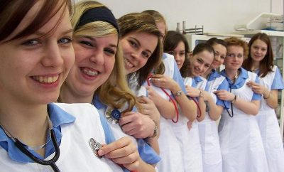 female nurses in a row