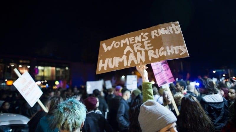 Americans protesting a Trump presidency