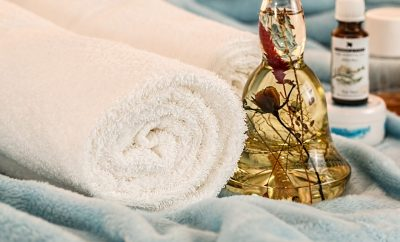 towel and oils used to take care of yourself
