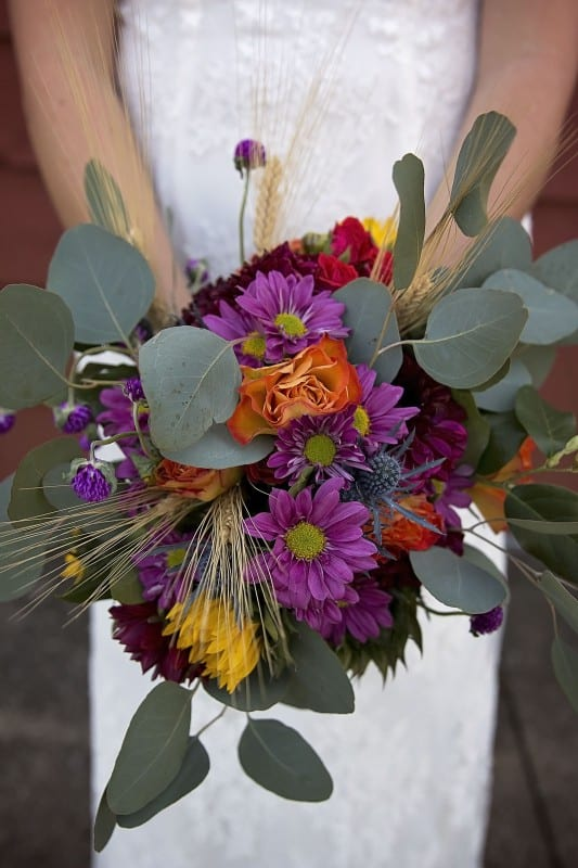 pic of wedding bouquet done during wedding prep