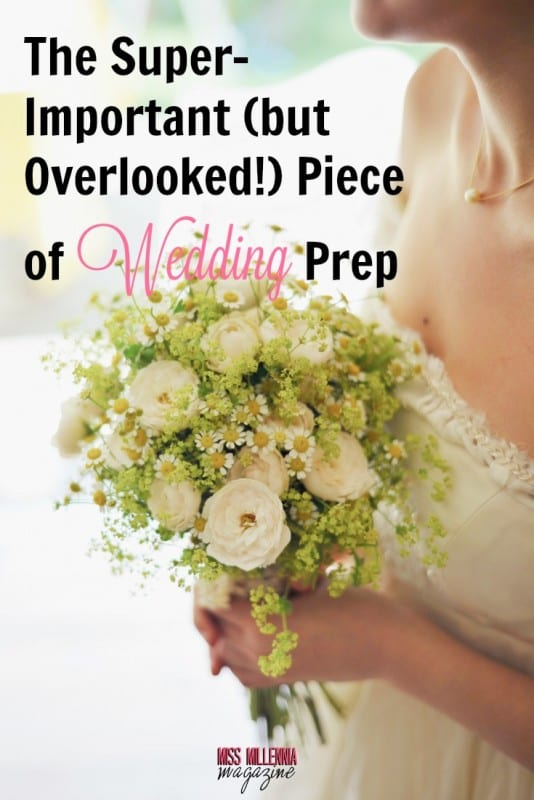 bride and bouquet during wedding prep